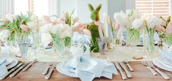 veľkonočné dekorácie na stôl
